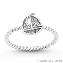 Sailing Yacht / Sailboat Nautical Charm Solid 925 Sterling Silver Stackable Ring - $27.19