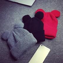 Winter Hat Devil Horns Ear Cute Crochet Braided Knit Beanies Hat Warm Ca... - $13.00