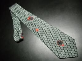 Nicole Miller Neck Tie 1995 Basketballs and Hoops Against Grey Circles on Black - $11.99