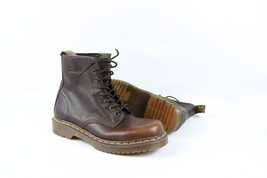 New Dr Martens Mens US 9 8 Eyelet Tall Leather Moto Combat Boots Teak Brown - $100.94