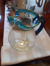 Home Essentials Hand Made Tea Juice Pitcher Aqua Teal Rim W/ Cobalt Blue... - $23.52