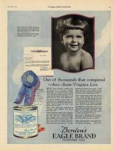 Bordens 1922 AD Eagle Brand Condensed Milk Iowa Model Baby Virginia Lou Innes - $15.99