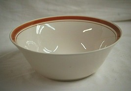 Stoneware Heavy Vegetable Serving Bowl w Brown Trim Rings China Unknown ... - $32.66