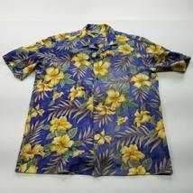 Royal Creations Mens Hawaiian Shirt L Large Blue Floral Hibiscus Made in... - $18.66