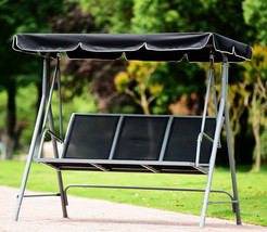 Swing With Canopy Porch Patio Bench Black Mesh Seat Heavy Duty Steel Fra... - $178.19