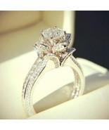 Sim Diamond 10k White Gold Plated 925 Silver Womens Engagement Lotus Flo... - $59.99