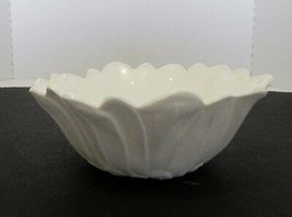 Indiana Glass Lily Pons White Milk Glass Deep Nappy Bowl Vintage - $12.86