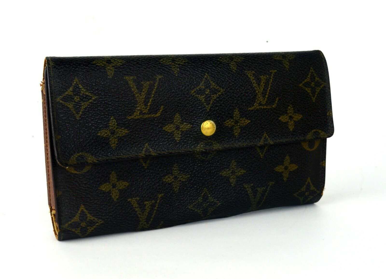 Primary image for Auth LOUIS VUITTON Monogram Canvas & Leather Trifold Envelope Long Wallet Purse