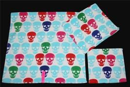 3 Betsey Johnson SKULL PARTY Red Green Blue Etc Velour Bath Hand Towel Washcloth - $39.99