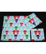 3 Betsey Johnson SKULL PARTY Red Green Blue Etc Velour Bath Hand Towel W... - $39.99