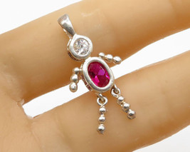 925 Sterling Silver - Pink & White Topaz Person Figure Drop Pendant - P1820 - $14.58