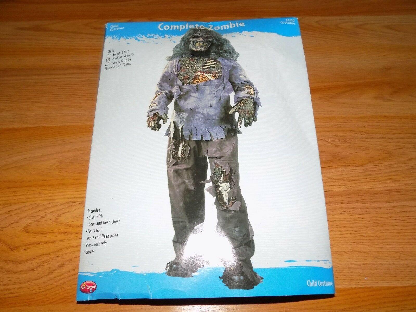 size Medium 8-10 Fun World Halloween Zombie Skeleton Costume Shirt Pants Mask