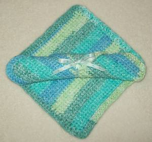 Primary image for Hand Crochet SEA FOAM Wash or Dish Cloths Gift Set