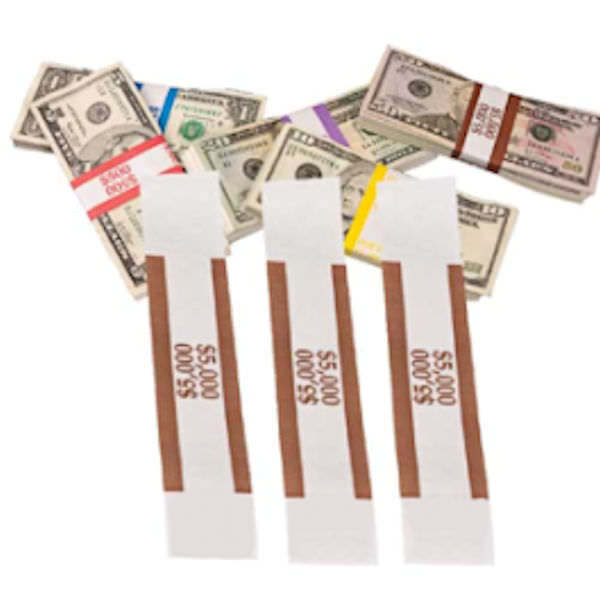 $5000 SELF-SEALING CURRENCY STRAPS//BANDS 1000  BROWN