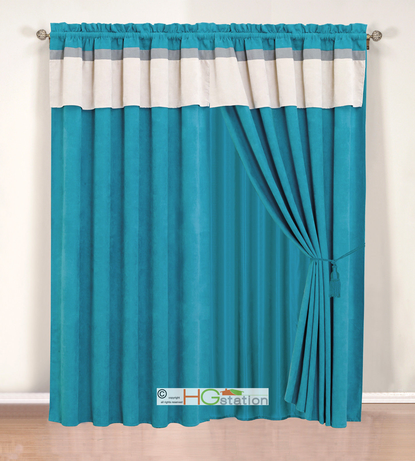 Primary image for 4-Pc Stripe Solid Micro Faux Suede Curtain Set Blue Grey Silver Valance Drape