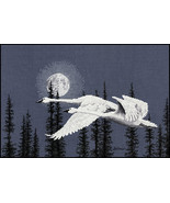 Night Moves Trumpeter Swans cross stitch Blaine Billman The Stitching St... - $14.40