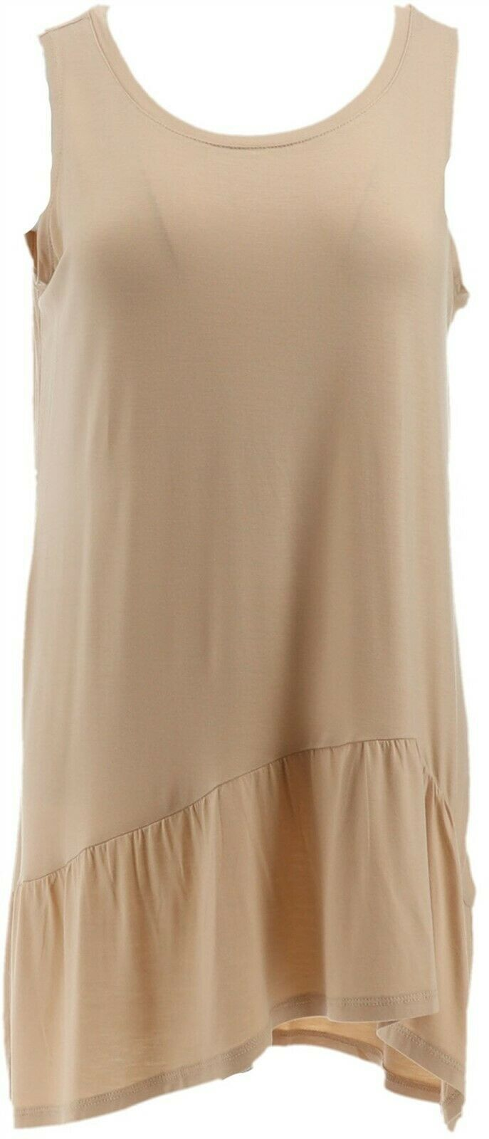 Primary image for LOGO Layers Lori Goldstein Knit Tank Asymmetrical Peplum Sandstone S NEW A285366