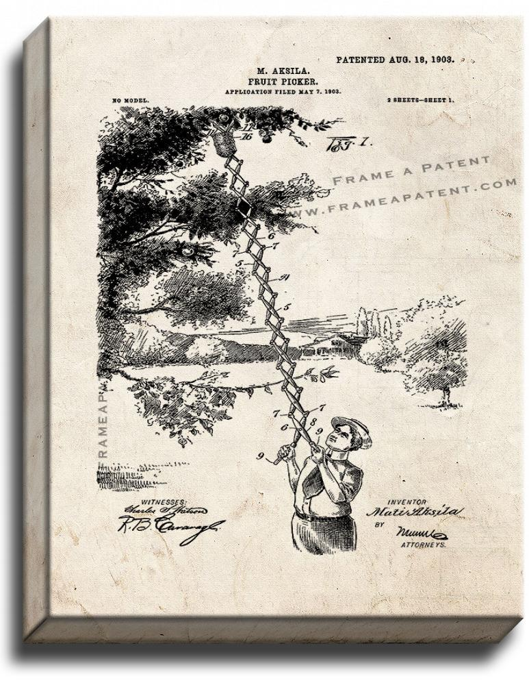 Primary image for Fruit Picker Patent Print Old Look on Canvas