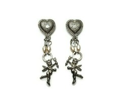 Vintage Silver Tone Drop Dangle Cupid Cherub Earrings Rhinestones Faux P... - $16.82