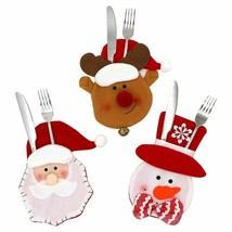 Christmas Cutlery Bag Table Decoration Christmas Fork Knife Tableware Ho... - $8.90