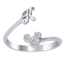 Initial K Disney Mickey Mouse Ring Diamond 14k White Gold Plated Pure 925 Silver - $23.78