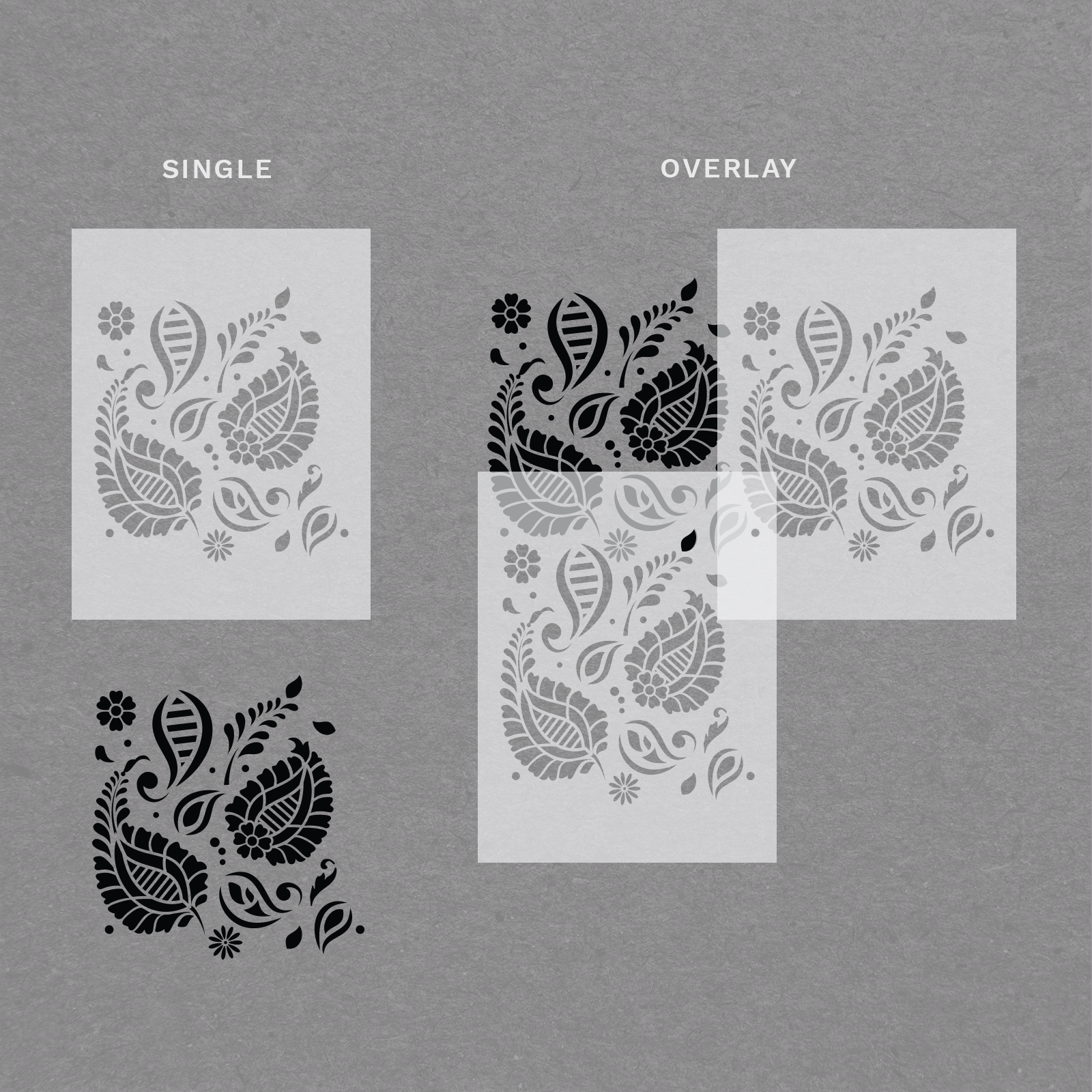 "Paisley Stencil - Durable & Reusable Wall Stencils - 34"" x 22.5"" Size"