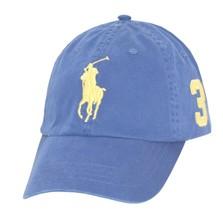 Polo Ralph Lauren Men Adjustable Pony Logo Hat - Big Pony - Blue Yellow - f2e005ba13e6