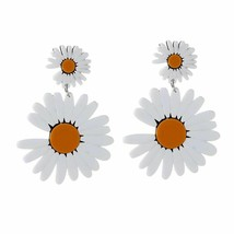 New Daisy Flower Big Acrylic Drop Earrings For Women's Korean Style Love... - $10.44
