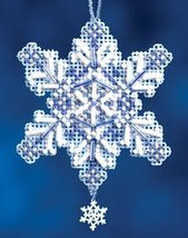 Sapphire Crystal snowflake charmed ornament 2012 beaded ornament kit Mill Hill - $6.30