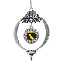 Inspired Silver California Outline Circle Holiday Decoration Christmas Tree Orna - $14.69