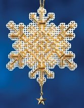 Gold Crystal snowflake charmed ornament 2012 beaded ornament kit Mill Hill - $6.30