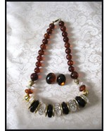 Chunky Rootbeer Lucite Plastic Necklace & Earrings - $10.00