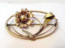 Vintage Art Deco 1/20 12kt on S/S flower brooch - $18.00