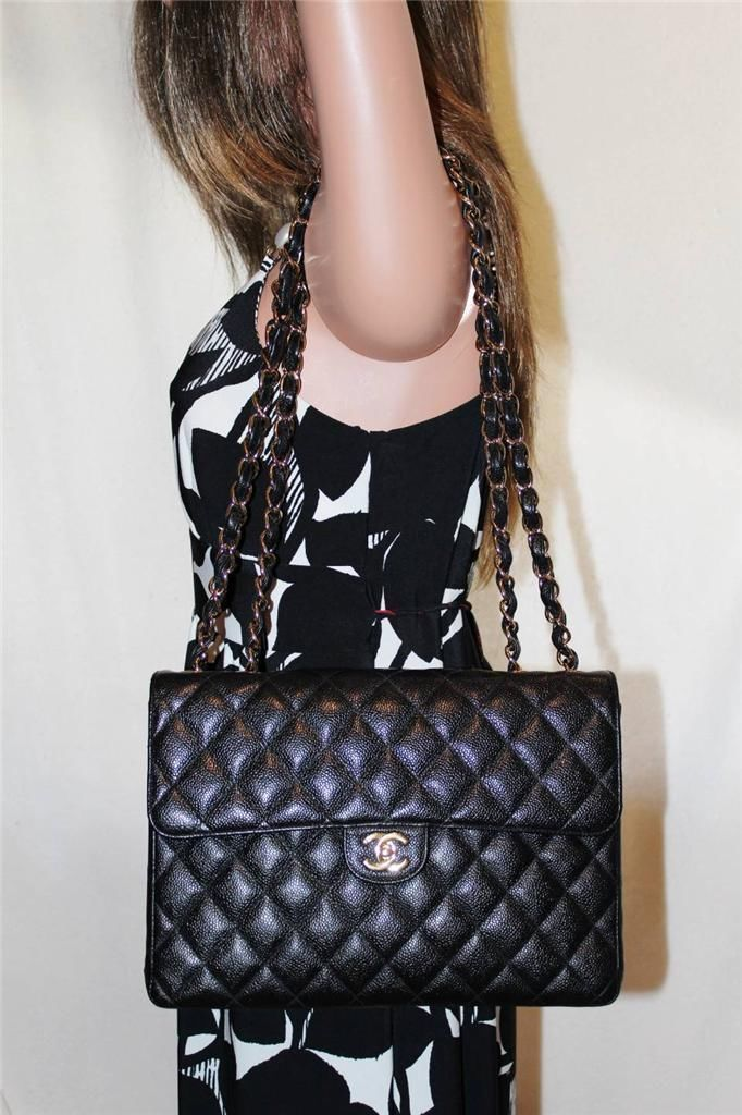 CHANEL Jumbo Black Quilted Caviar Classic Single Flap Bag w/GHW
