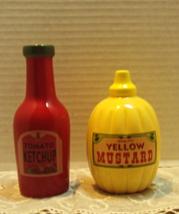 Vintage Retro Mustard & Ketchup Shaped S&P Shakers Novelty Range top Shakers  - $8.50