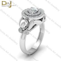 Flower Petal Double Halo Diamond Skull Wedding Ring Womens Gothic Skull ... - €695,40 EUR