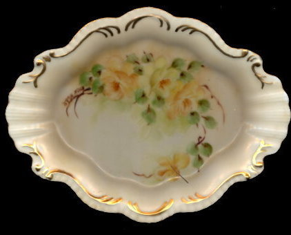 Primary image for Gorgeous Yellow Roses Scalloped Porcelain Pin Tray