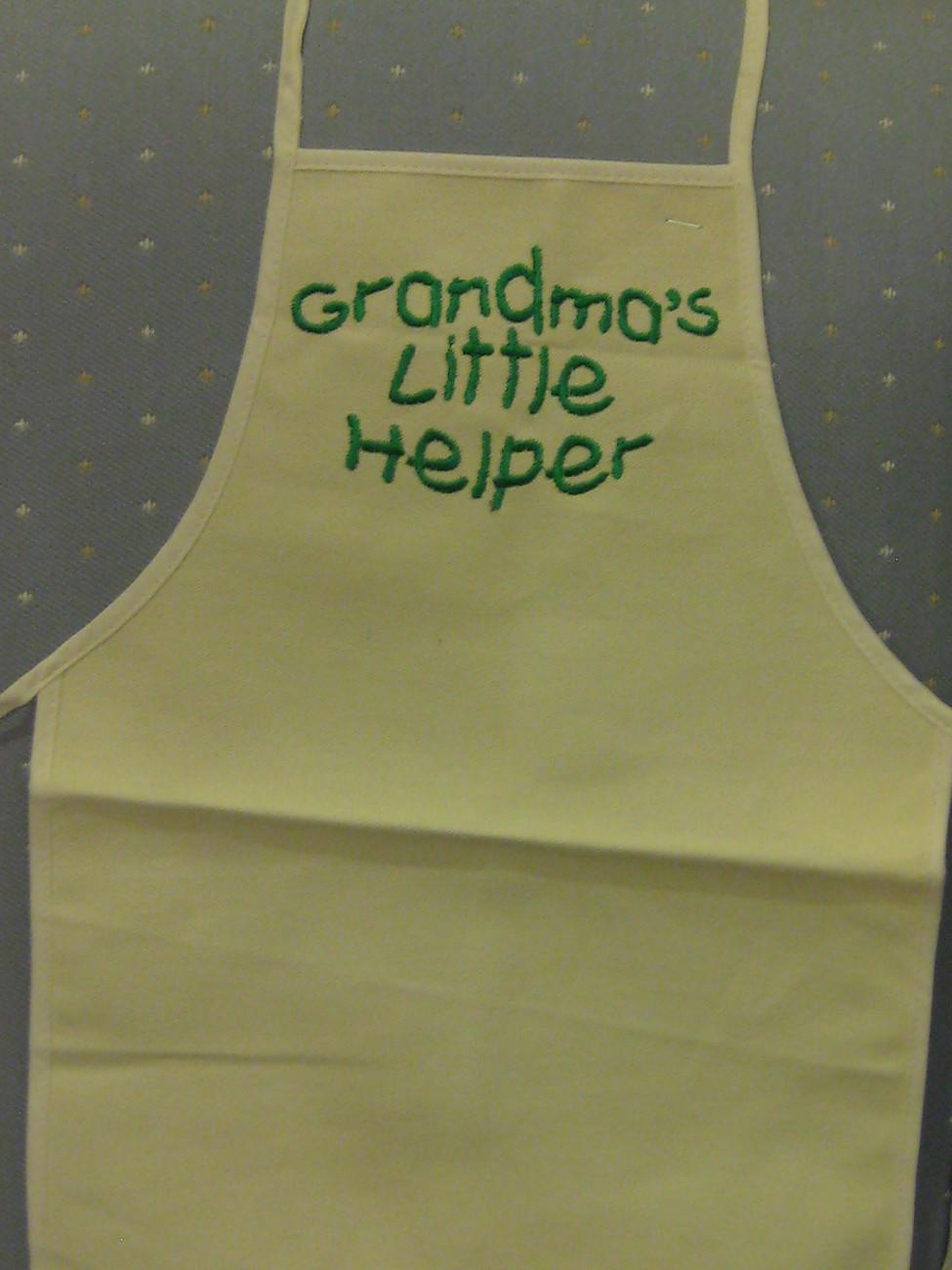 Grandma's Little Helper embroidered on child canvas apron