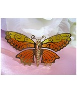Vintage AVON Yellow & Orange Butterfly Brooch/Pin - $10.00