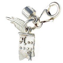 Sterling 925 Silver 3 Part Writer's Clip On Charm, Quill, Ink Pot & Scro... - $25.48