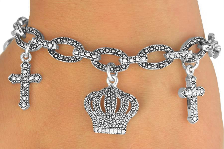 Genuine MARCASITE bracelet CROWN & CROSS drop toggle