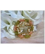 Vintage Wreath Circle Pin Green & Coral w/Faux ... - $14.00