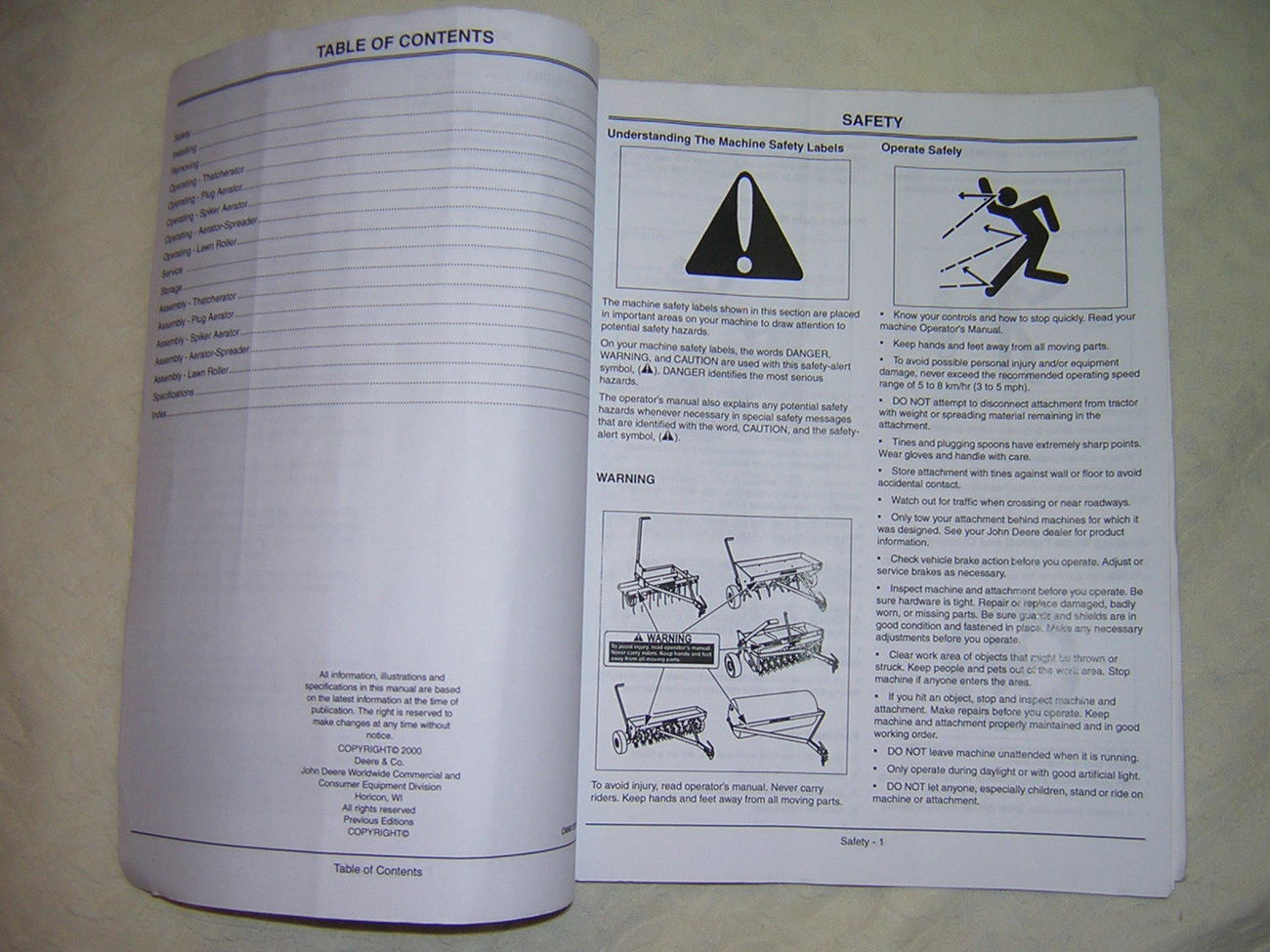 JD Tow Behind Lawn Tools Operator Manual, Roller, Thatcher, Plug, Spike & Spread