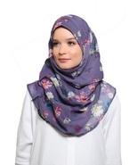 BOKITTA DAISIES PURPLE - PRINTED SMOOTH CHIFFON INSTANT HIJAB Muslim Sca... - $55.62+