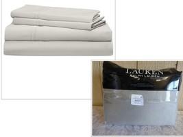 Lauren Ralph Lauren Spencer Solid Sateen Queen Sheet Set, Gray - $64.70