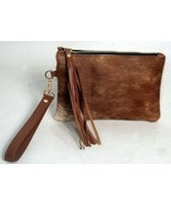 "Real Genuine Cowhide Leather Wristlet Clutch Wallet Purse Cow Hide 8.5""x6 - $39.59"