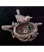 Anson Sterling Silver Mother Bird & Nest rhines... - $19.95