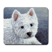 Mousepad Computer Mouse Pad Dog 137 White Westie blue art painting by L.... - $9.99