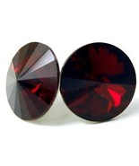12mm Red Siam Multi-Faceted Sparkling Swarovski Crystal Stud Post Earrings EA321 - £10.19 GBP