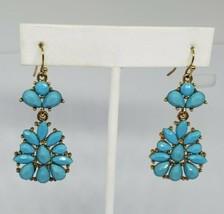 Avon Turquoise Rhinestone Gold Tone Dangle Earrings Vintage - $13.00